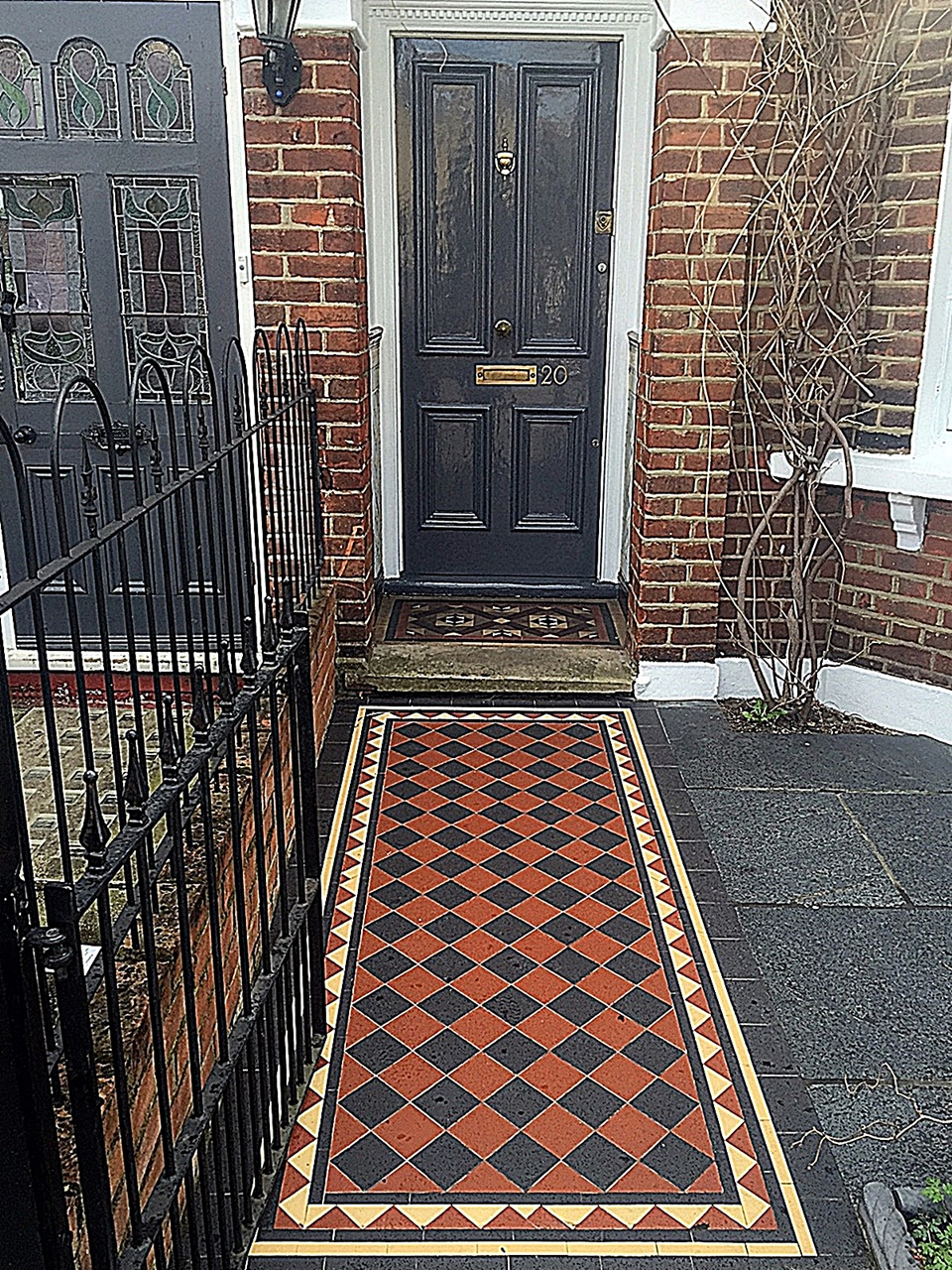 Front Garden Company Victorian multi colour Mosaic metal gate metal rail path tile grey Battersea Wandsworth Clapham Balham