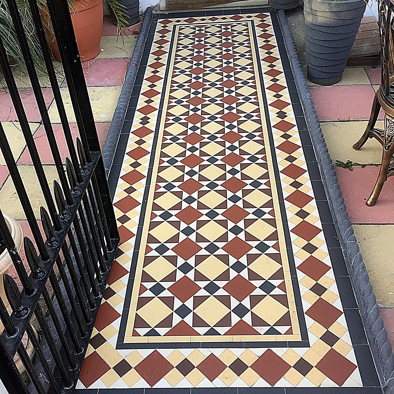 Front Garden Mosaic Tile path metal gate rail rope edge multi colour Balham Clapham Wandsworth Battersea London