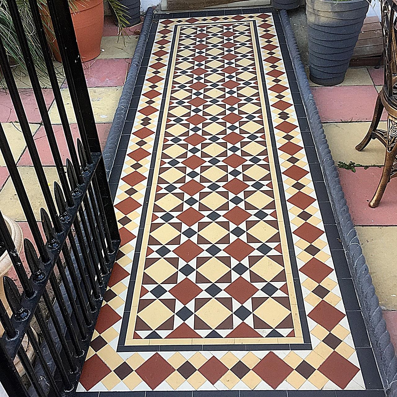 Front Garden Mosaic Tile path metal gate rail rope edge multi colour Balham Clapham Wandsworth Battersea London