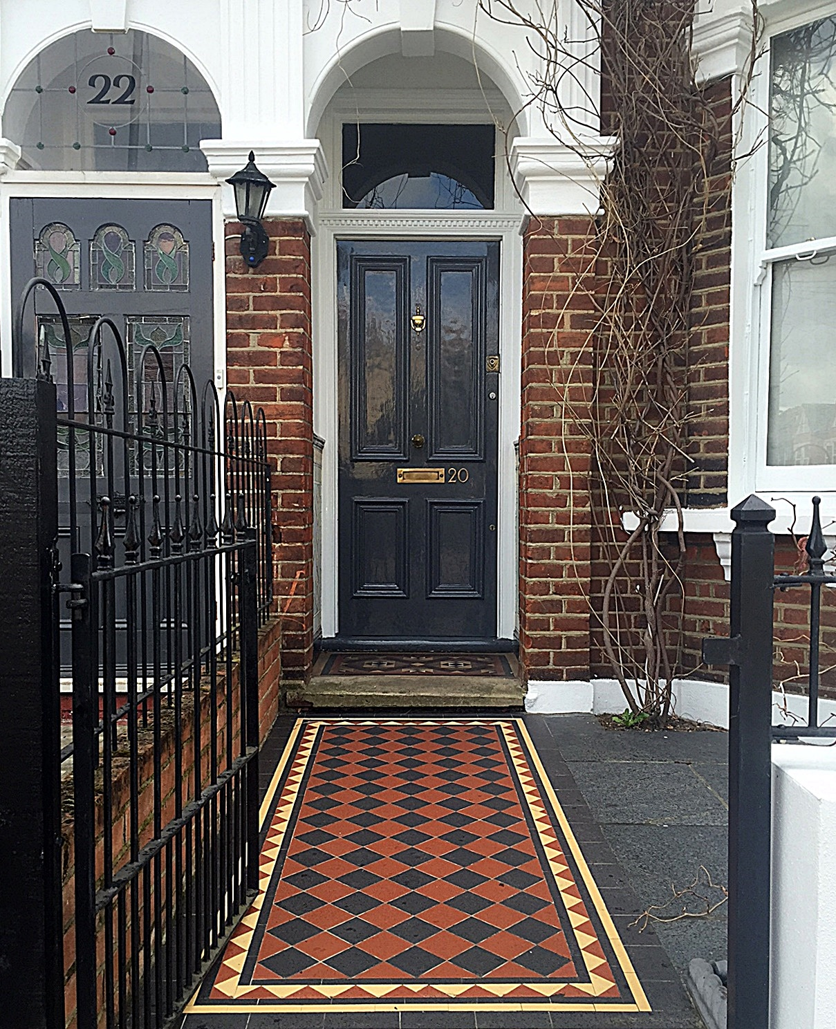 Low maintenance  red black yellow Victorian Mosaic Tooting Clapham Wandsworth Balham Battersea