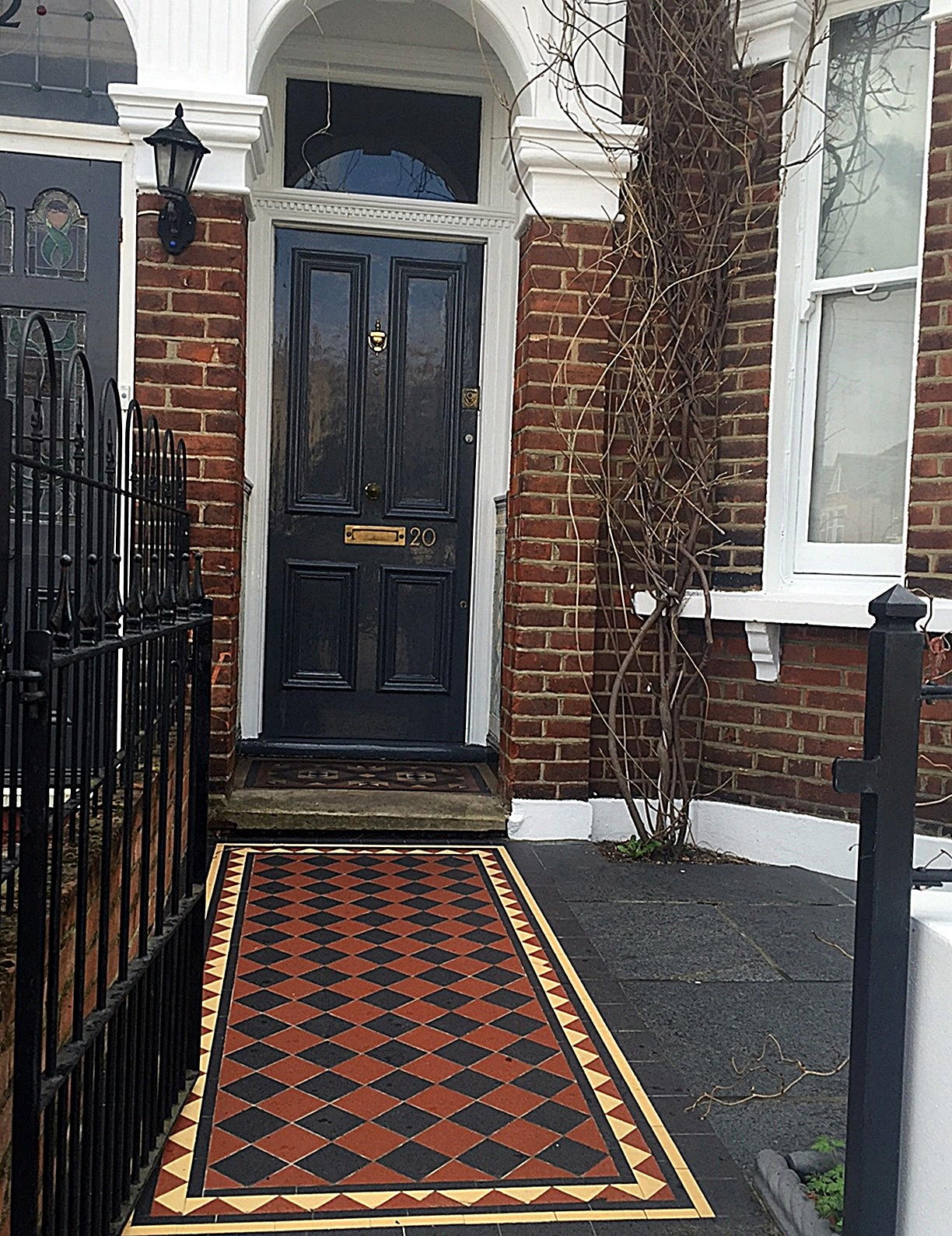 Victorian London Mosaic multi colour iron wrough gate slate paving tile path Clapham Balham Wandsworth Battersea