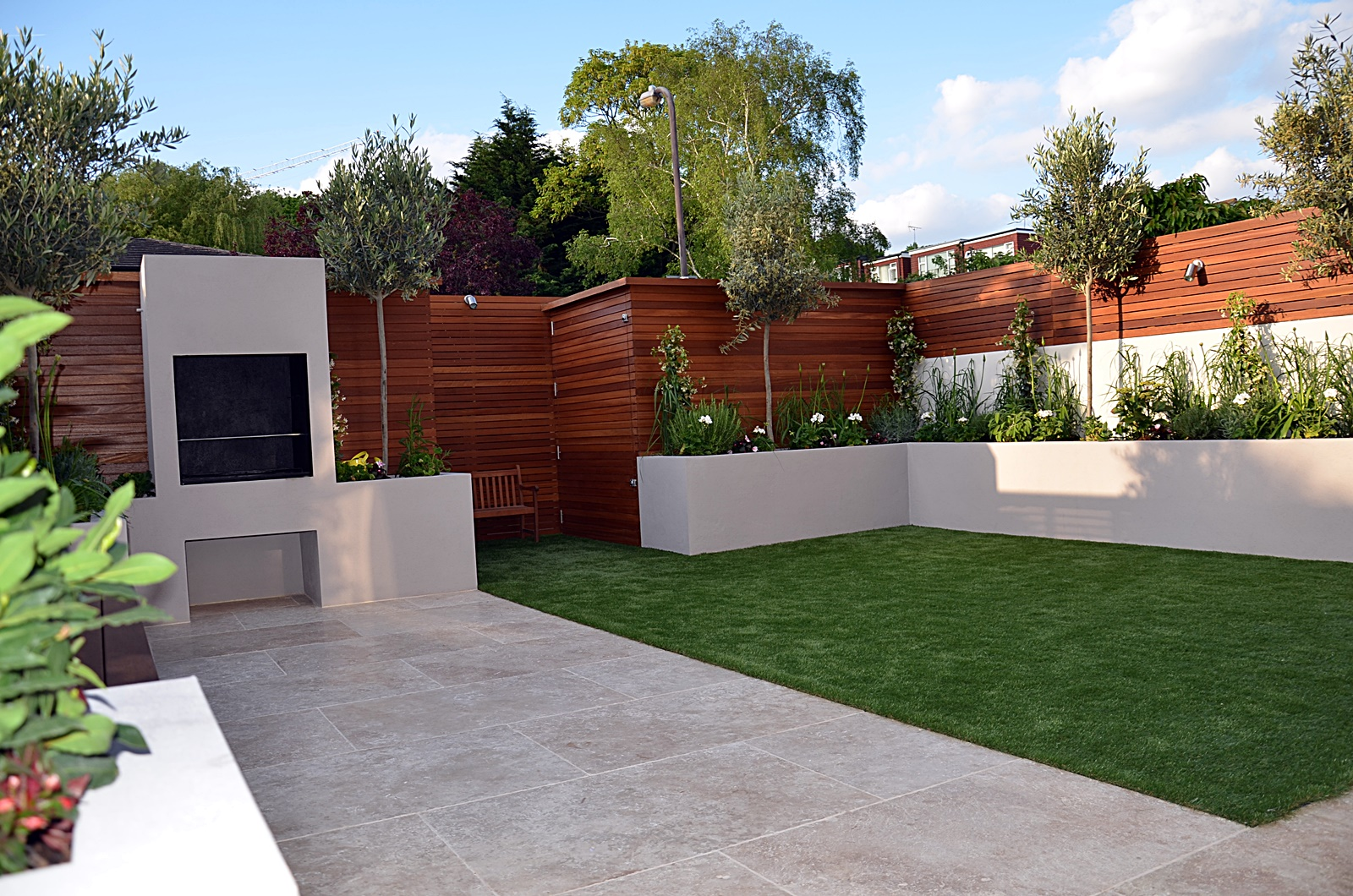 BBQ fireplace modern garden design designer balham clapham battersea wandsworth london