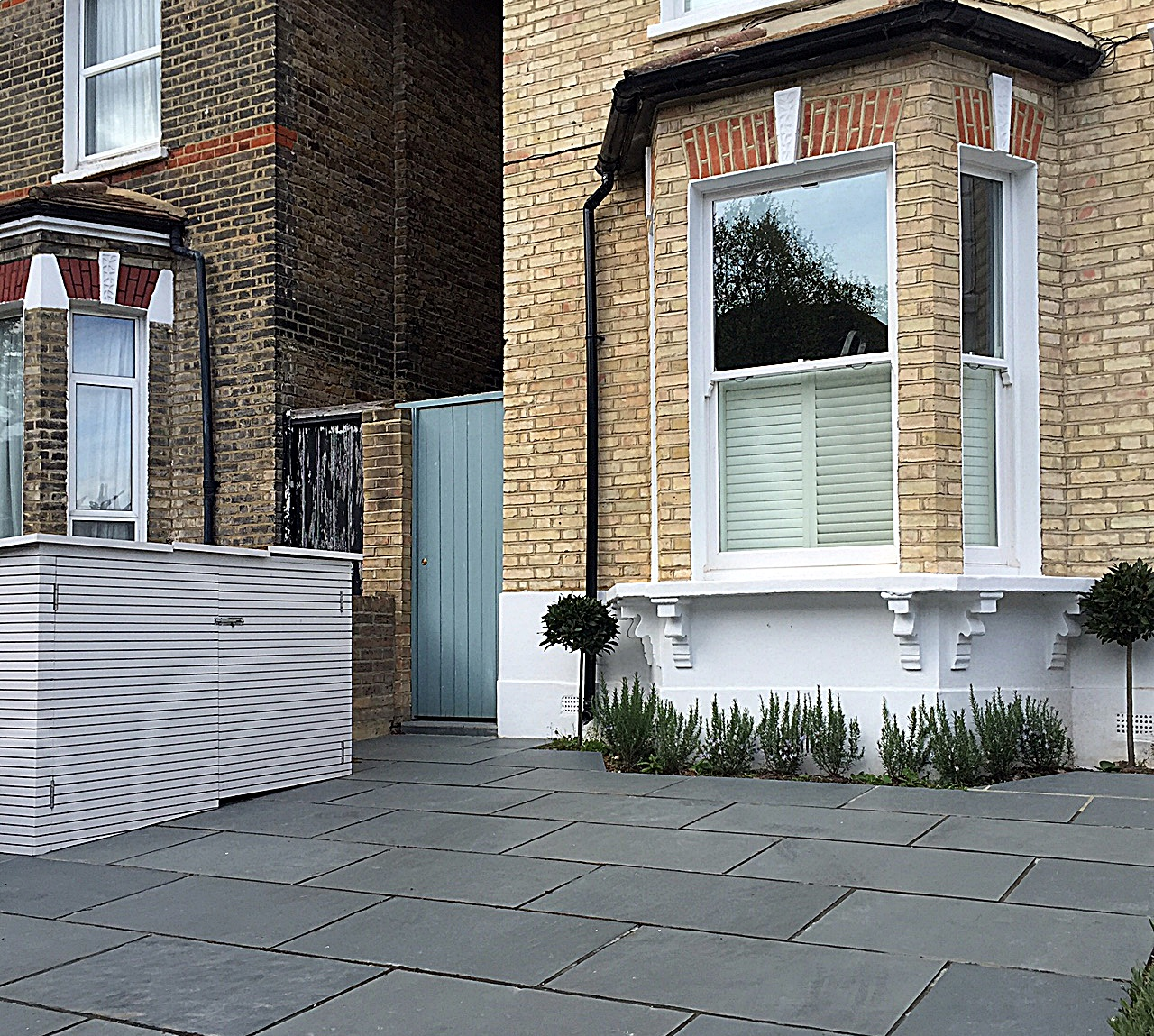 Bespoke bin store driveway grey colour path tile planting front garden privacy London Dulwich Balham Clapham