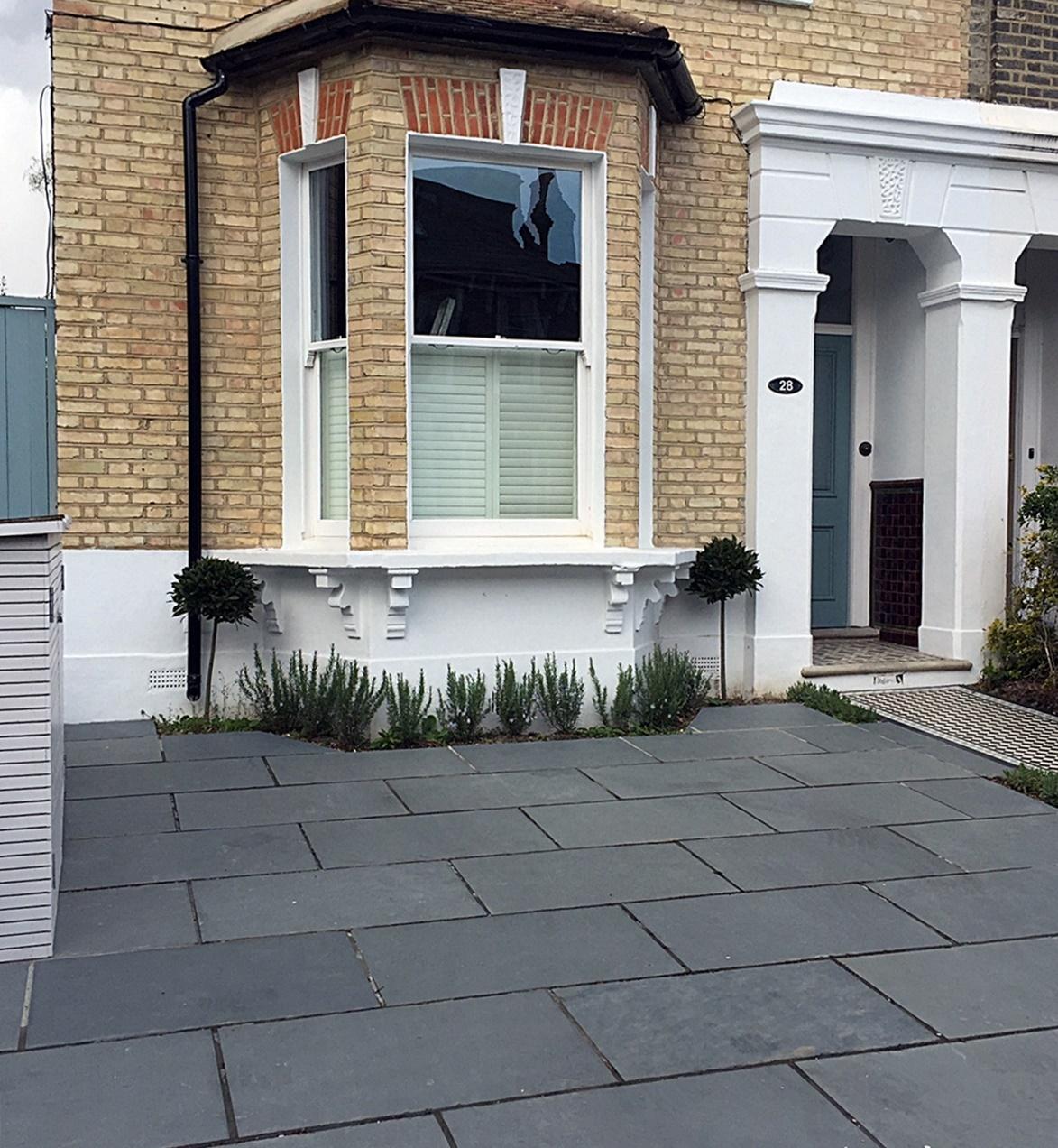 Dulwich driveway grey colour tile front garden bespoke bin store London Wandsworth Clapham Balham