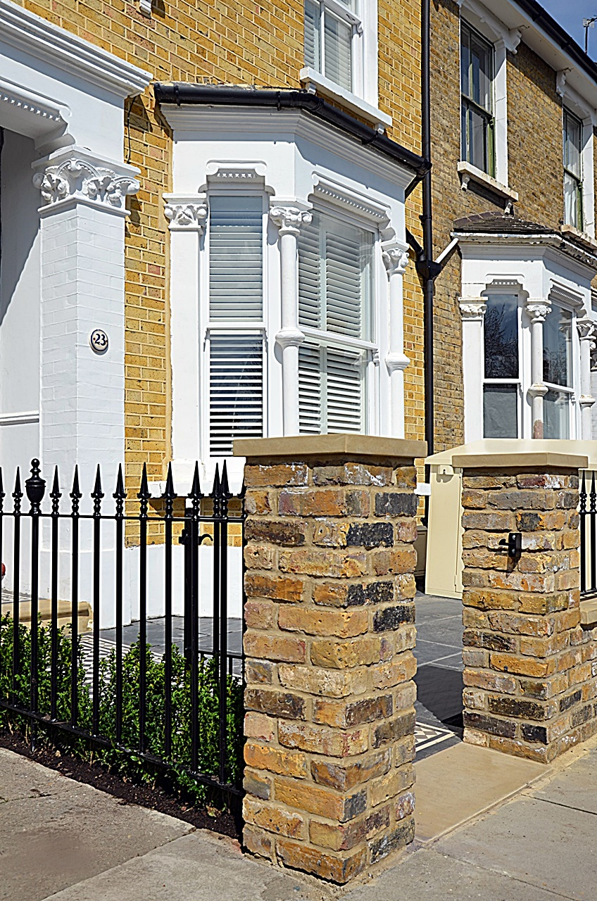 Front Garden Company brick yellow imperial stock coping cap piers iron rails metal gate London Clapham Wandsworth Earsfield
