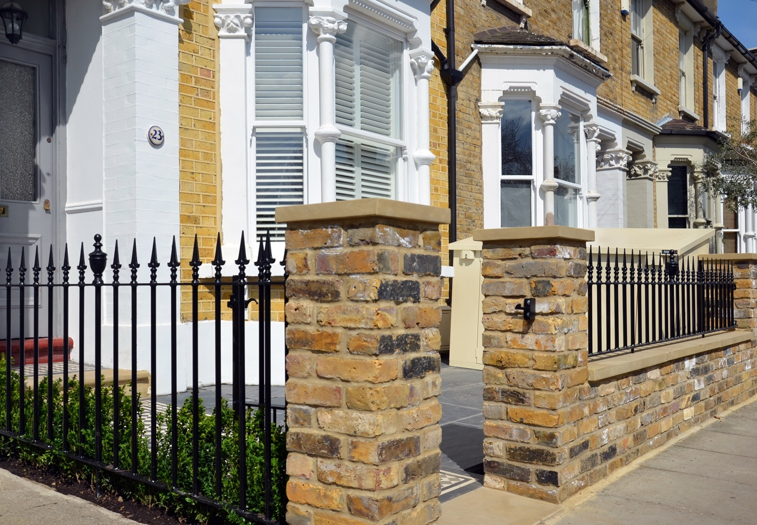 Front garden brick wall coping piers metal rails gate imperial yellow stock London Balham Clapham Wandsworth