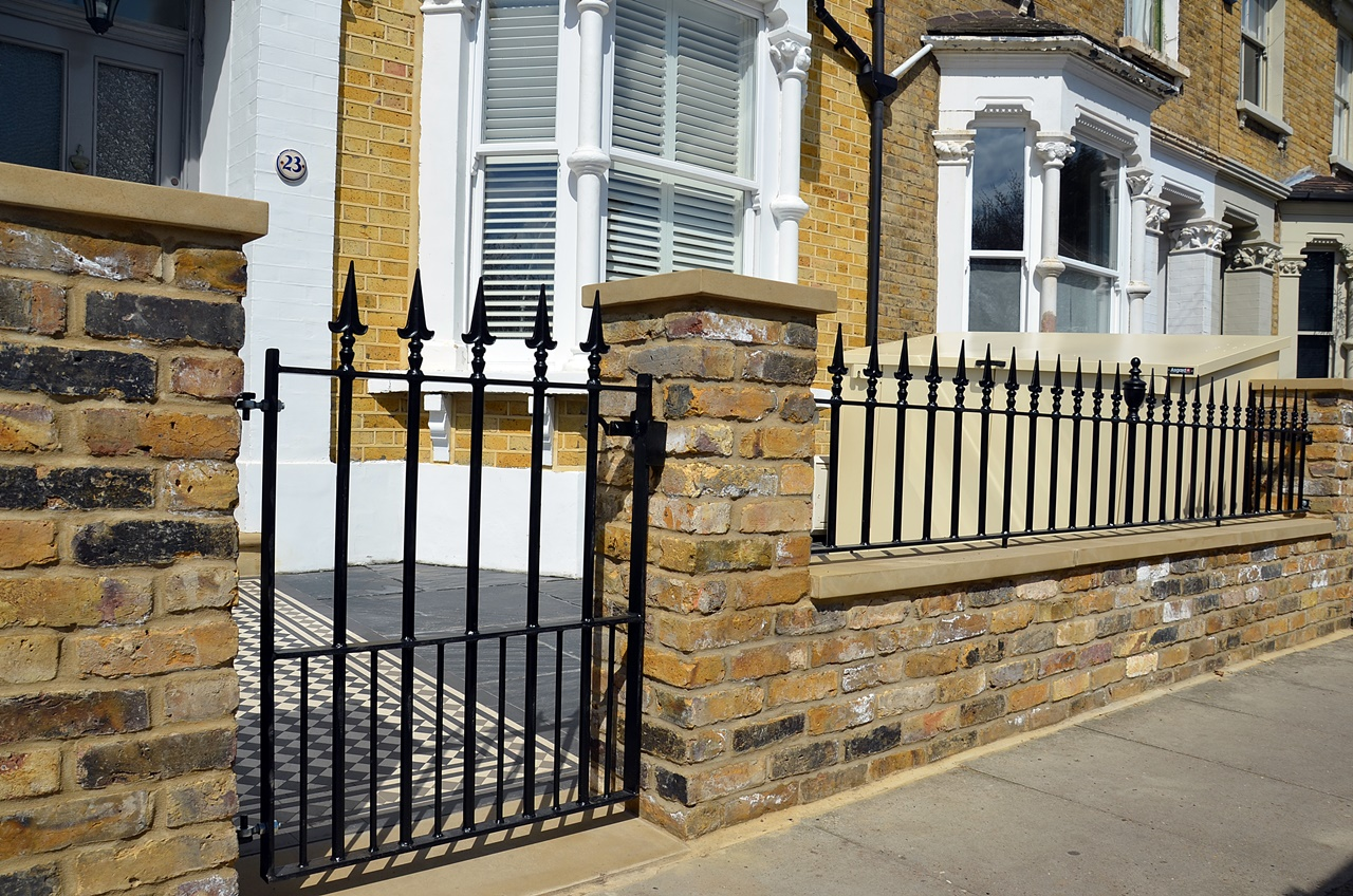 London stock brick wall rail and gate victorian mosaic tile path York stone wrought iron rail metal brockley dulwich east dulwich peckham forrest hill london