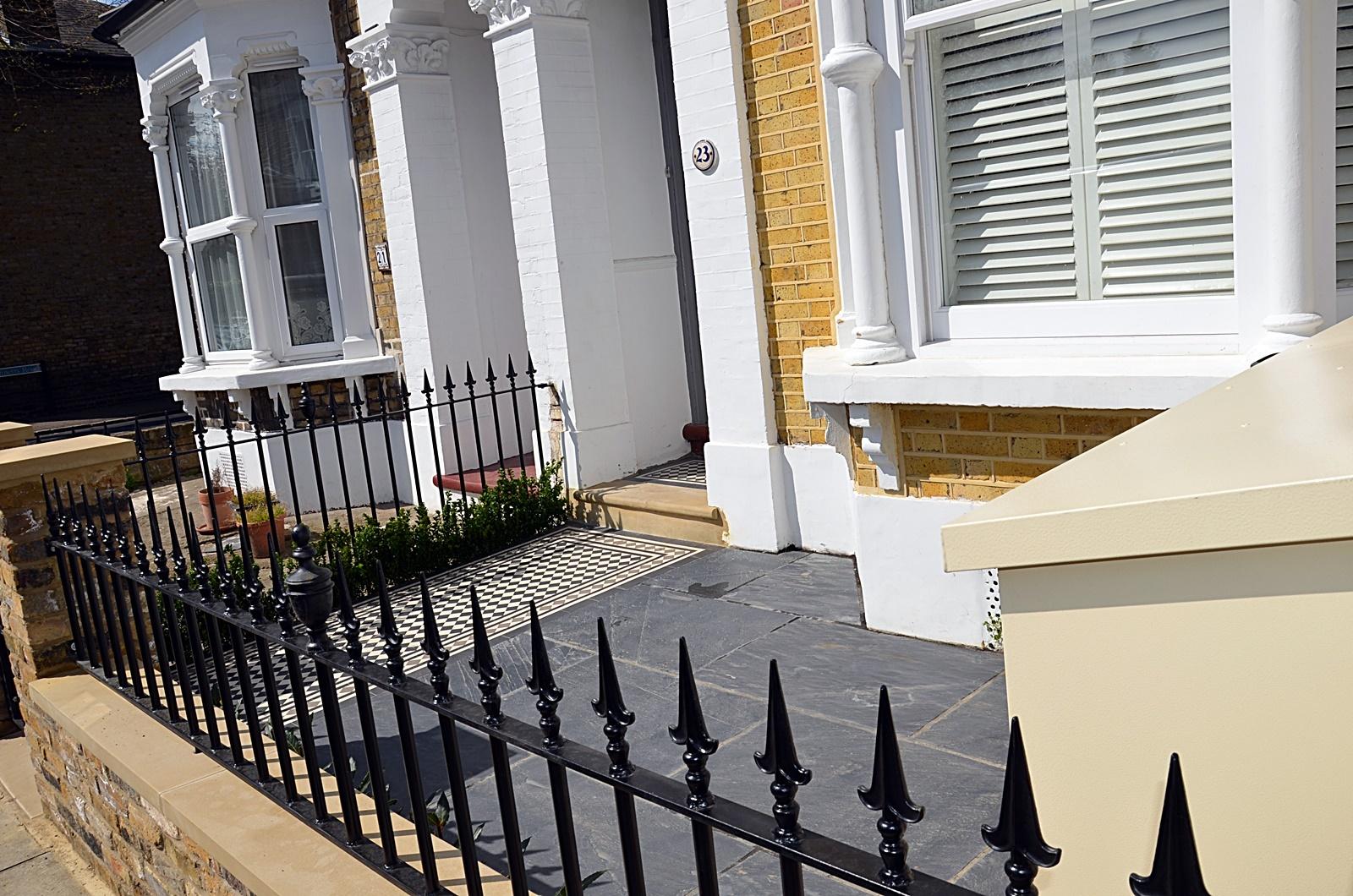 Metal rails gate paving grey colour path tile storage bin Victorian Mosaic London Clapham Earsfield Wandsworth Balham