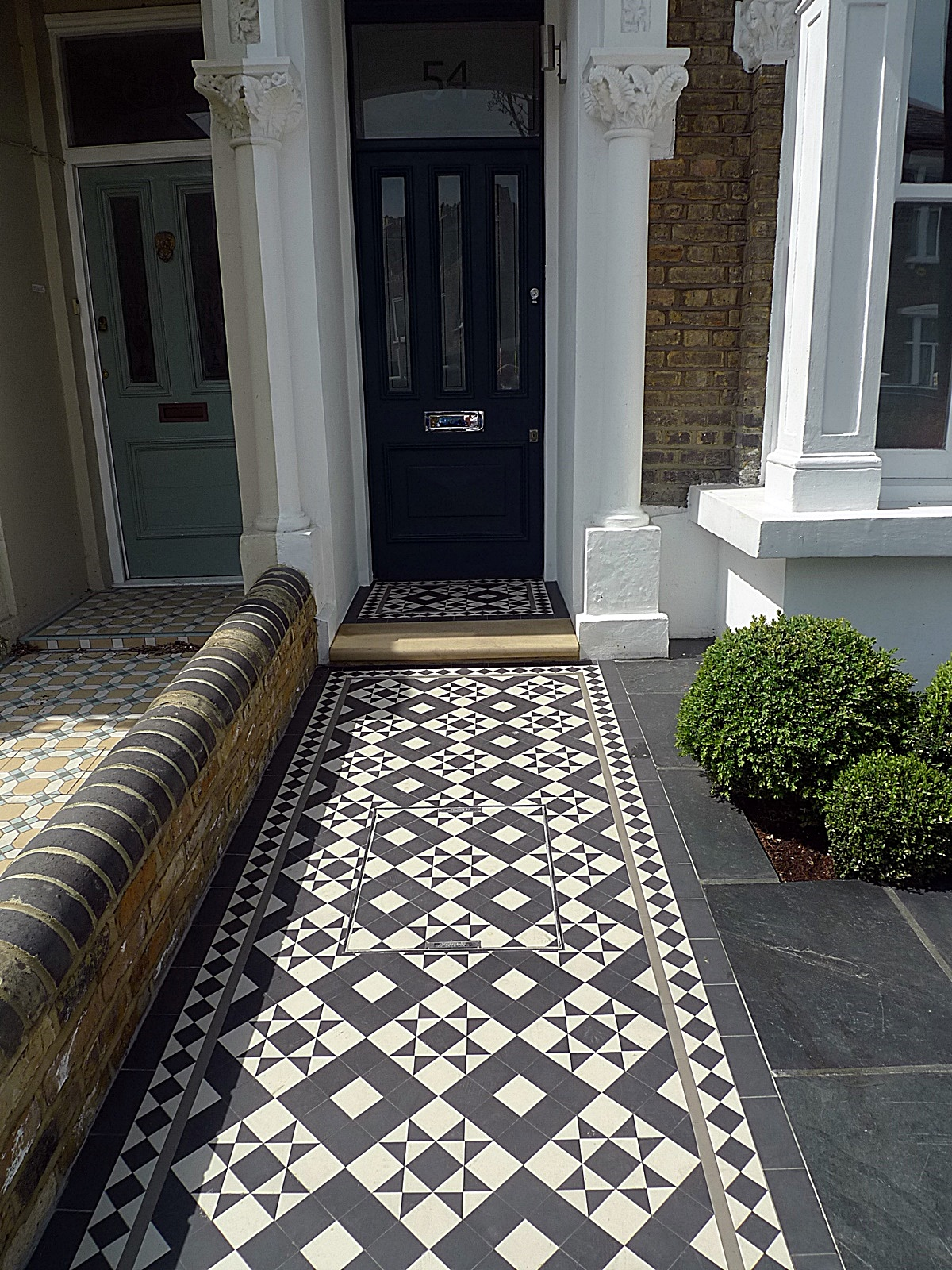 Victorian black and white mosaic path slate paving grey colour planting York stone Entrance stone London Chelsea Fulham Kensington