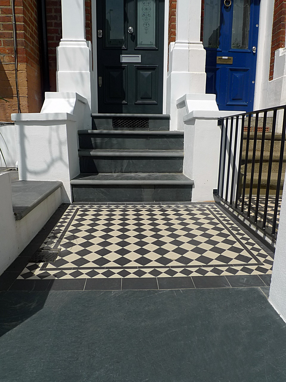 Victorian mosaic tile path slate bull nose steps kensington mayfair westminster notting hill islington london
