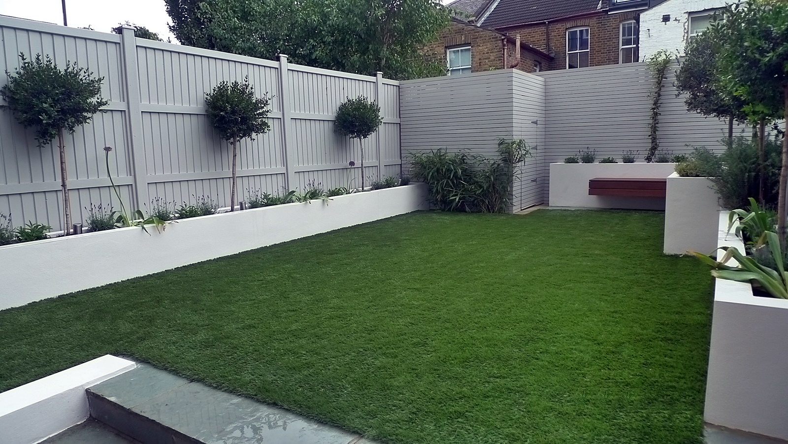 bespoke hardwood slatted privacy screen shed storage artificial grass modern garden design cheam putney richmond kingston wandsworth london