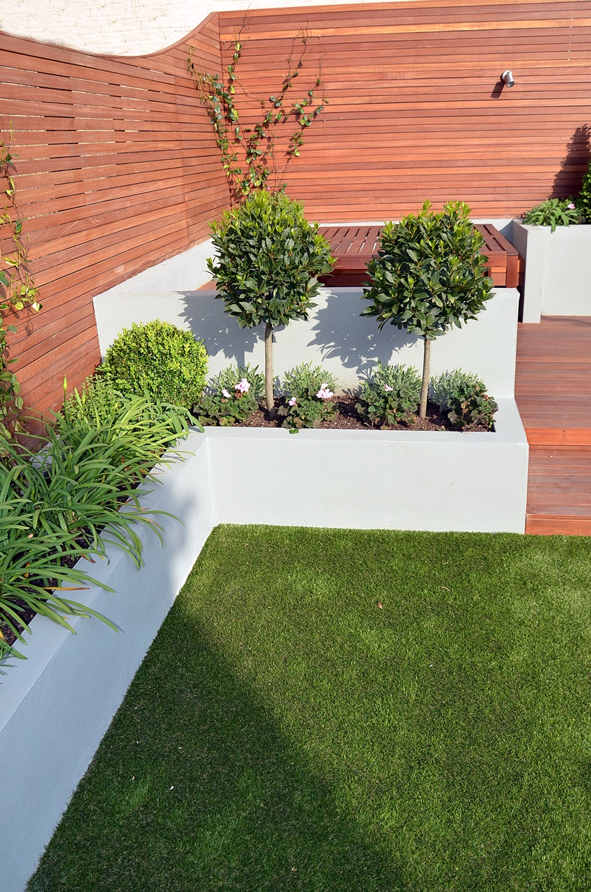 Modern Garden Design Artificial Grass Raised Beds Hardwood