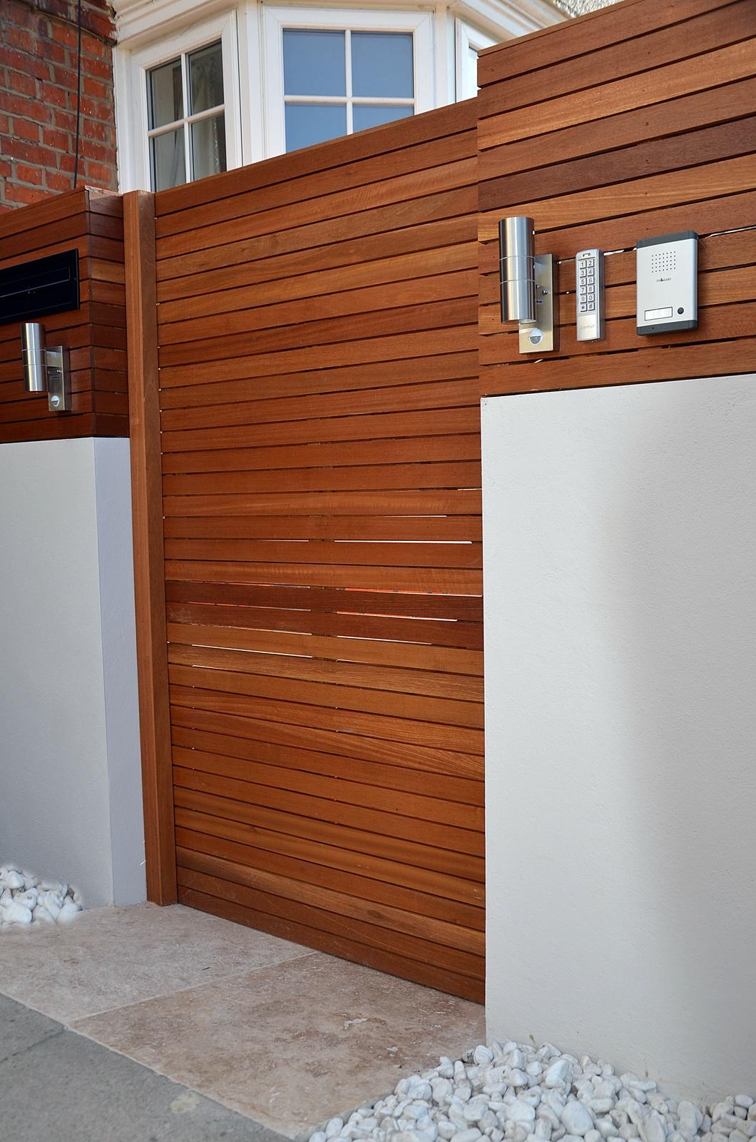 hardwood entrance gate and intercom design london