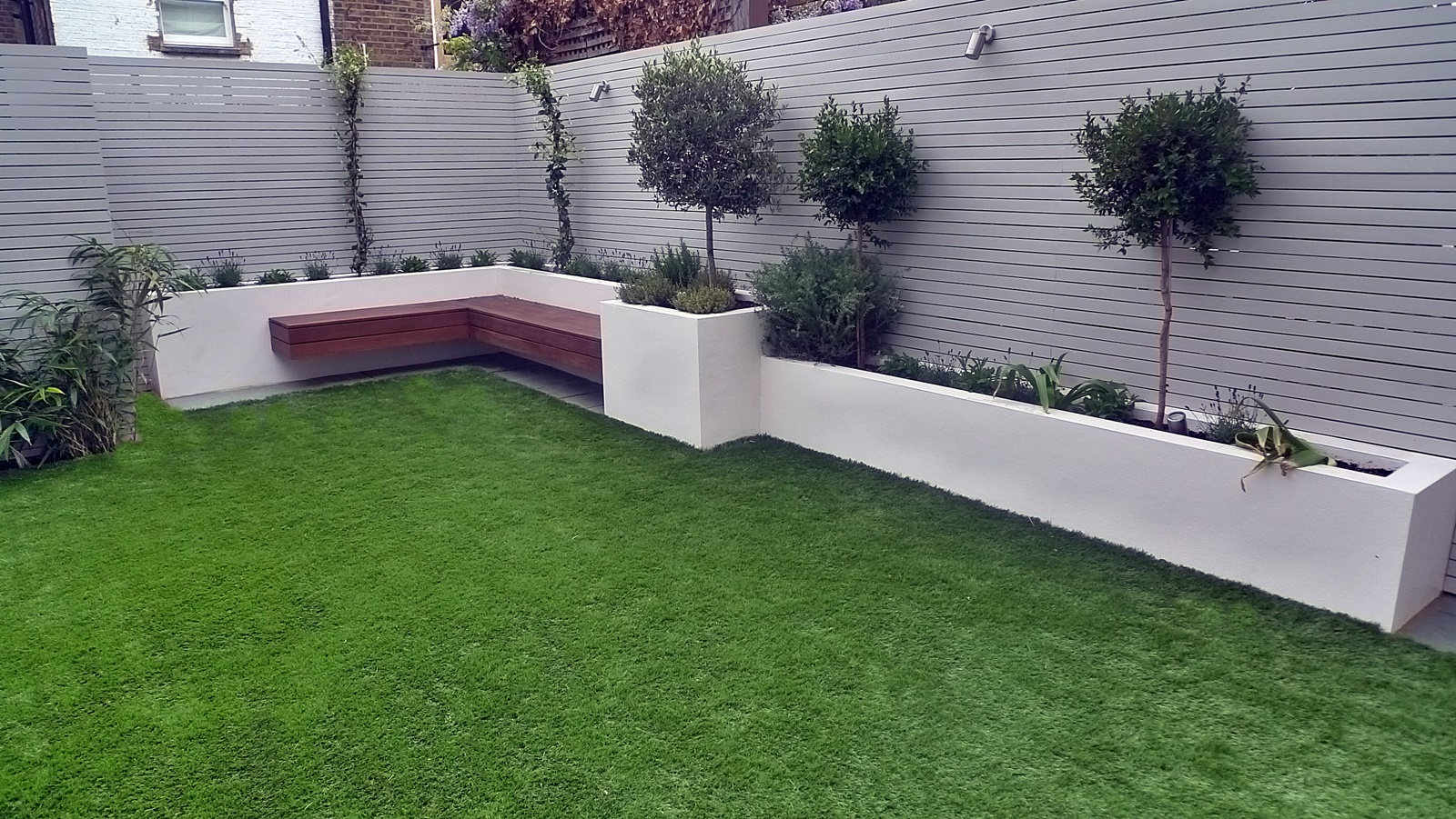 modern garden design raised beds slatted privacy screen trellis artificial grass raised beds bespoke garden storage shed tooting balham wandsworth new malden worcester park london