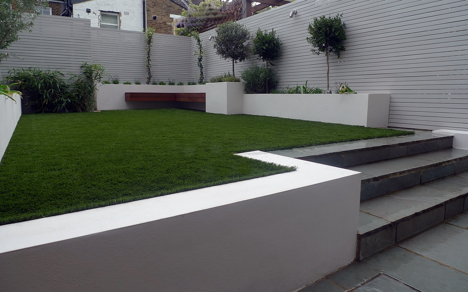 modern small garden design artificial grass raised beds painted grey screens dulwich forest hill crystal palace west norwood streatham london
