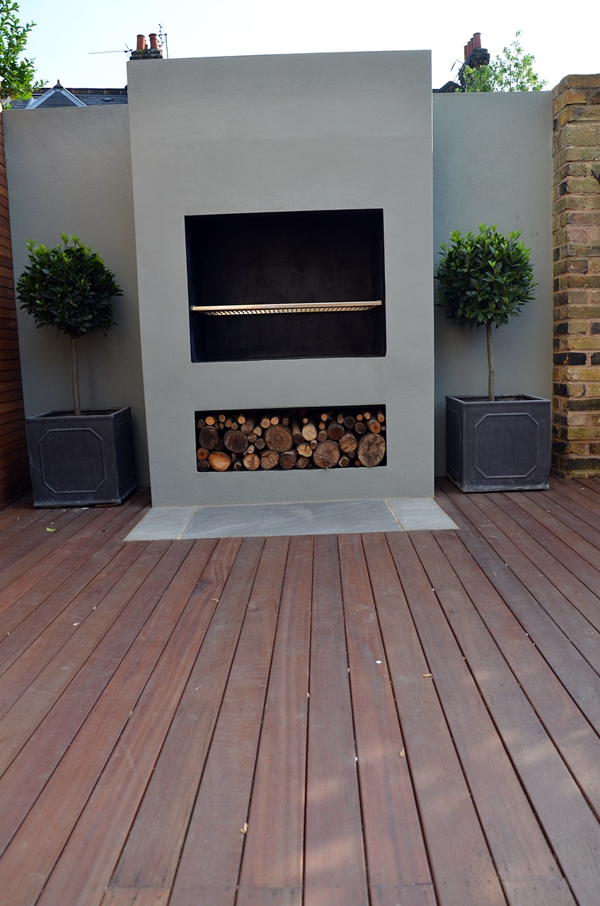 outdoor bespoke fireplace and BBQ