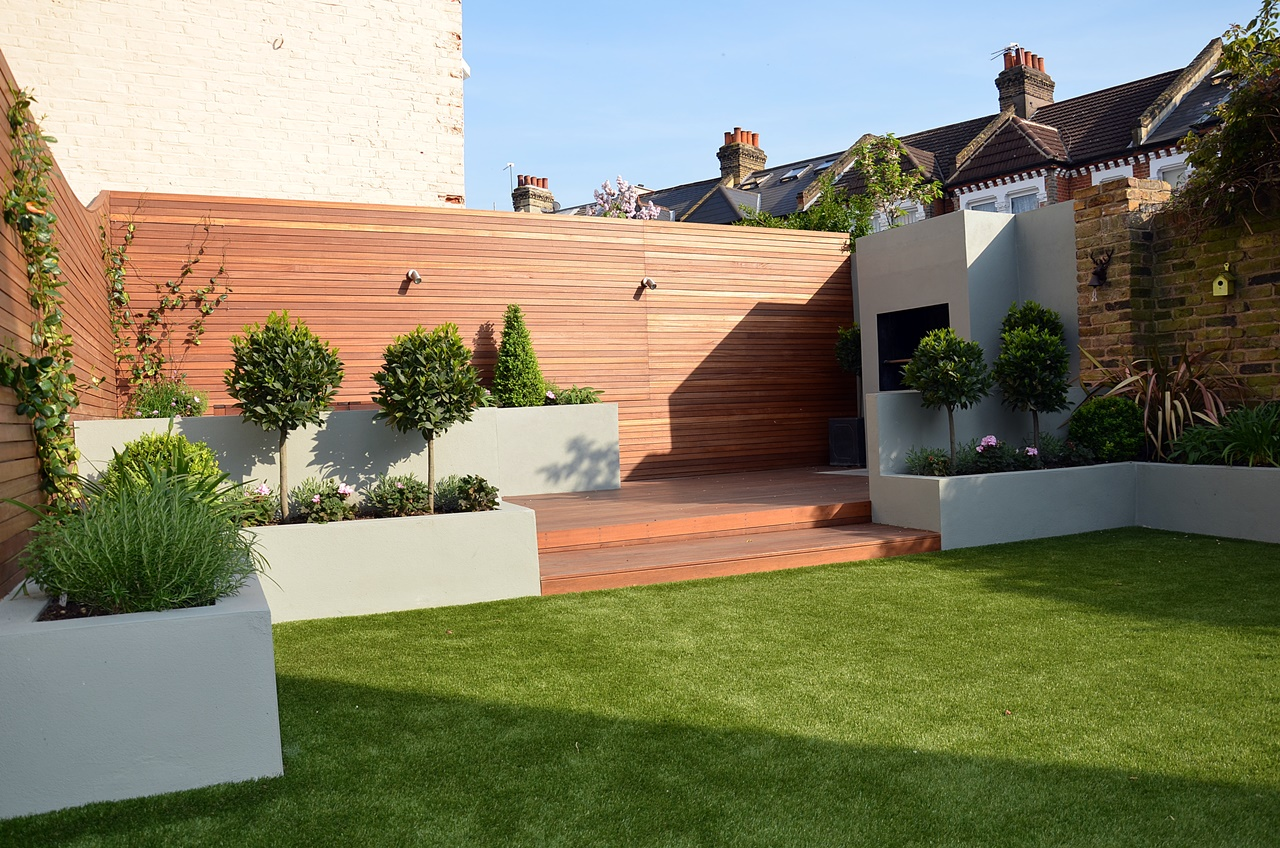 render block raised beds with built in fireplace clapham battersea chelsea fulham london