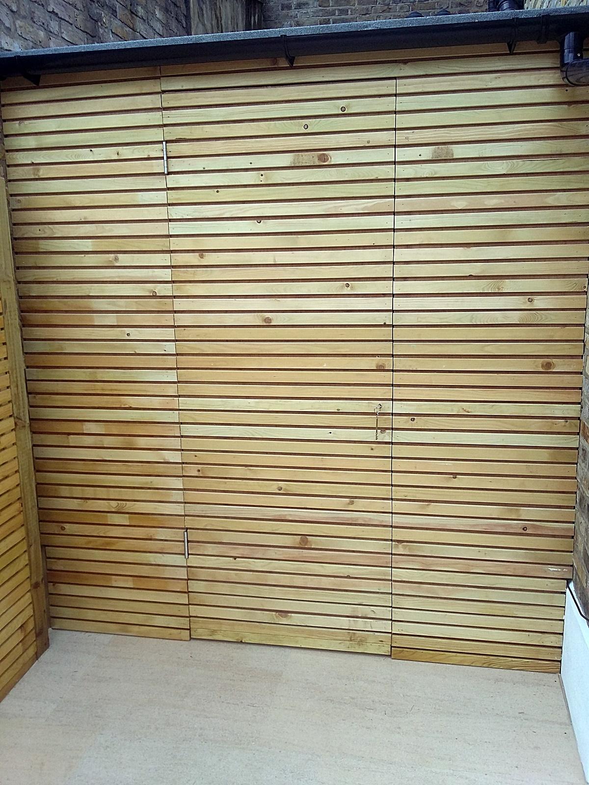slatted softwood screen trellis bespoke built in storage shed balham kensington chelsea fulham battersea clapham london