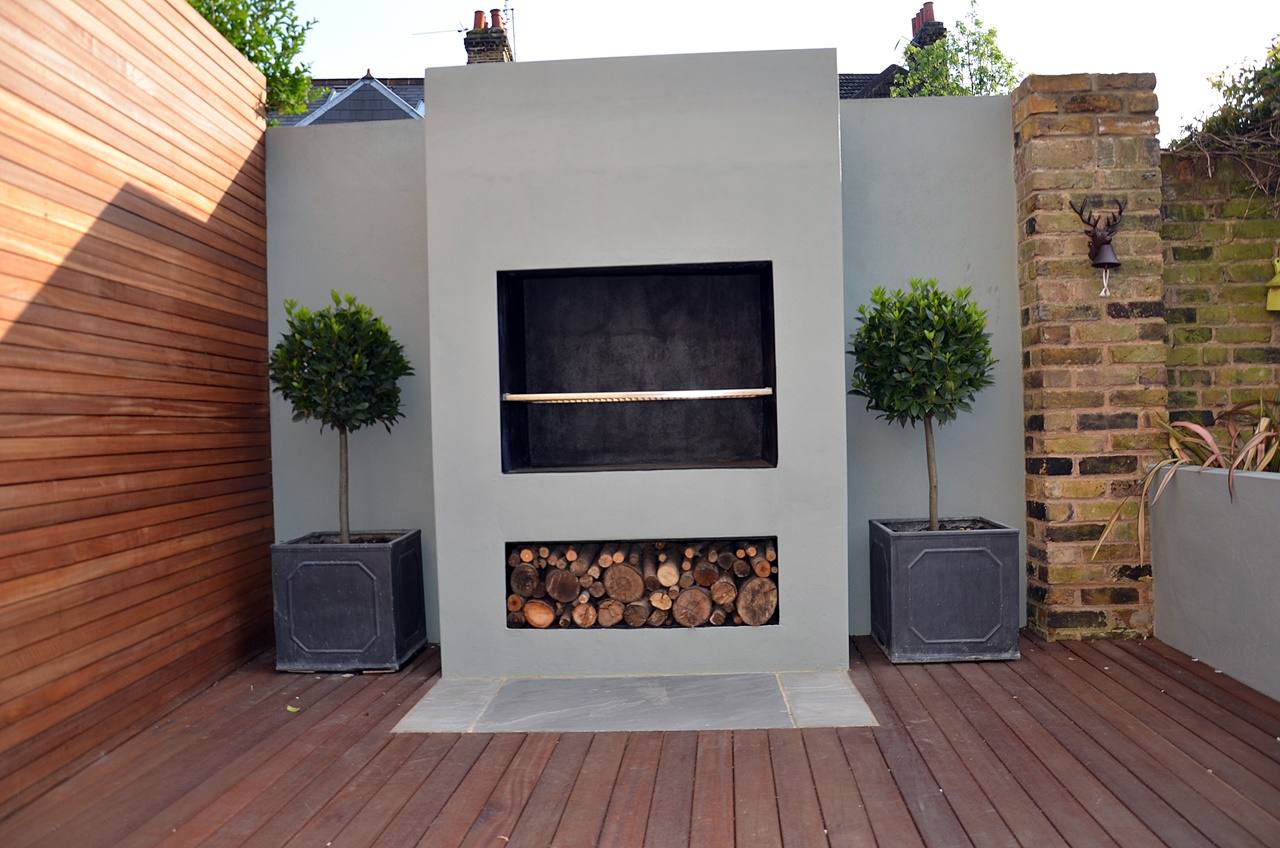 topiary and fireplace bbq