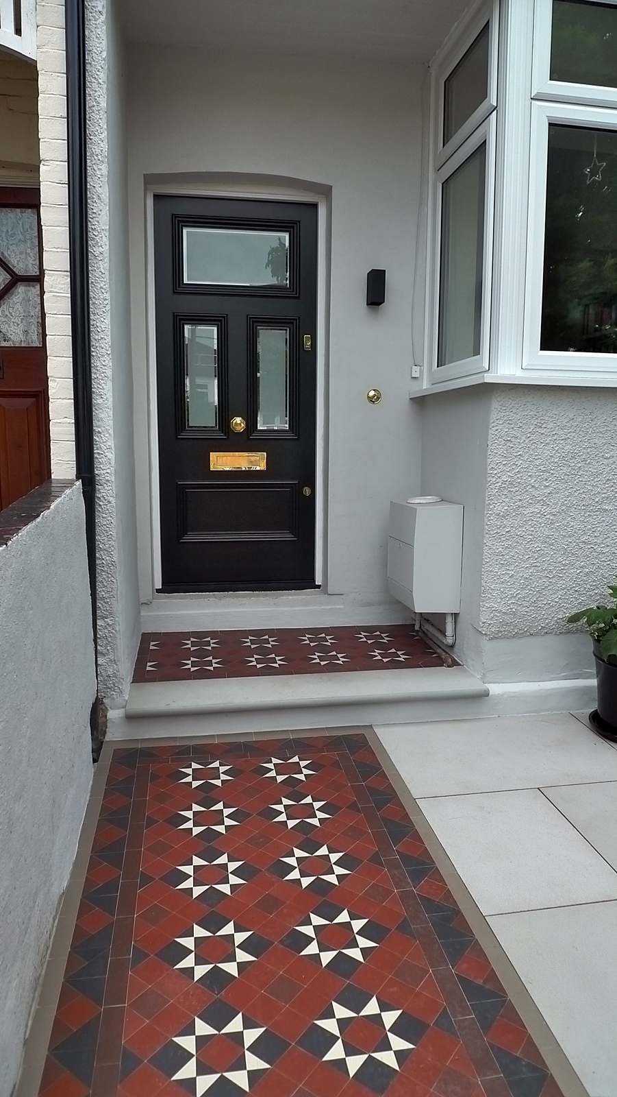 victorian mosaic tile path sawn grey sandstone steps and paving wimbledon sheen cheam sutton london