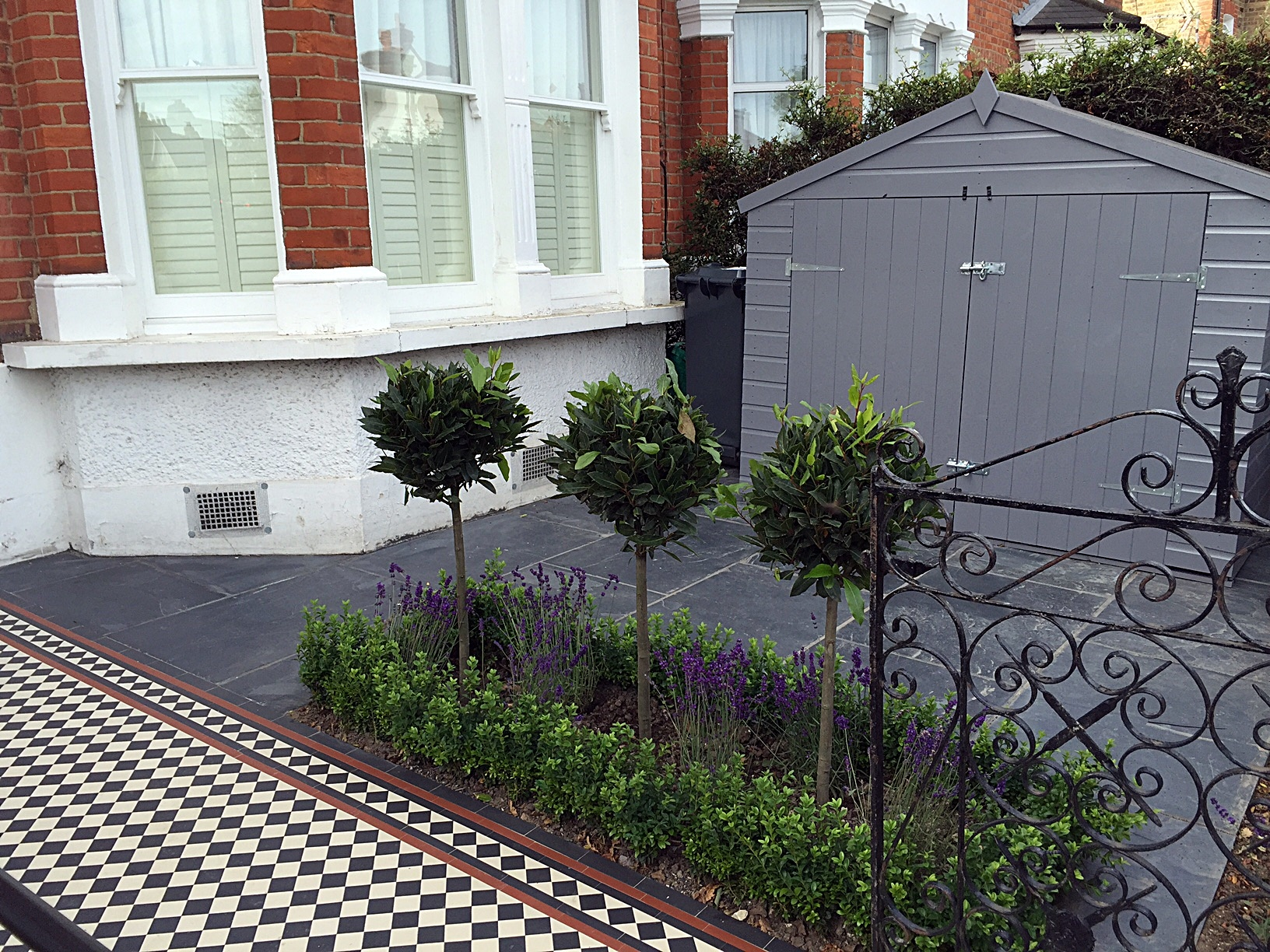 Bespoke storage grey colour slate paving path mosaic black red white London Balham Clapham Wandsworth