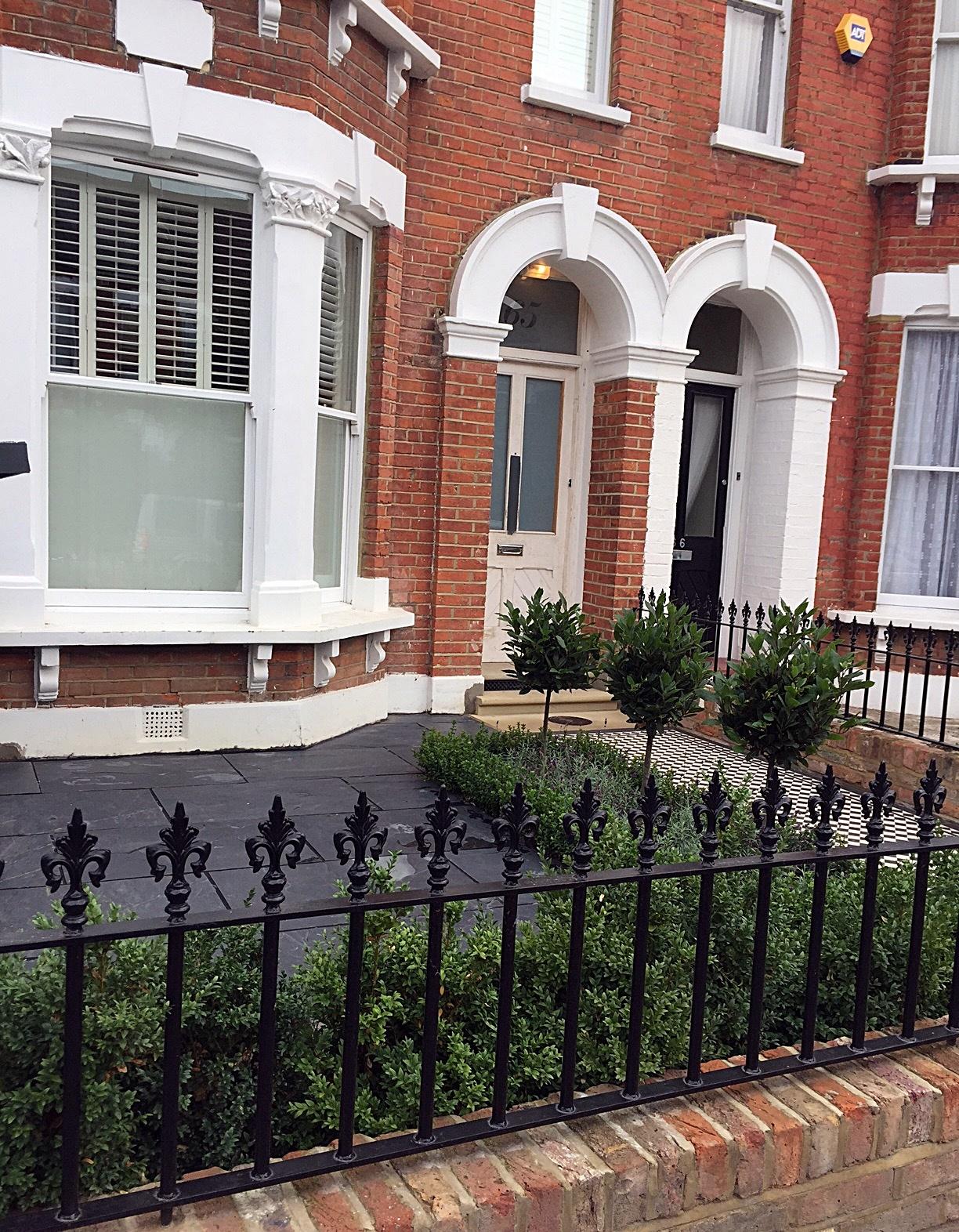 Brick garden wall iron gate rails path slate paving trees Victorian Mosaic London Chelsea Fulham Kensington Mayfair