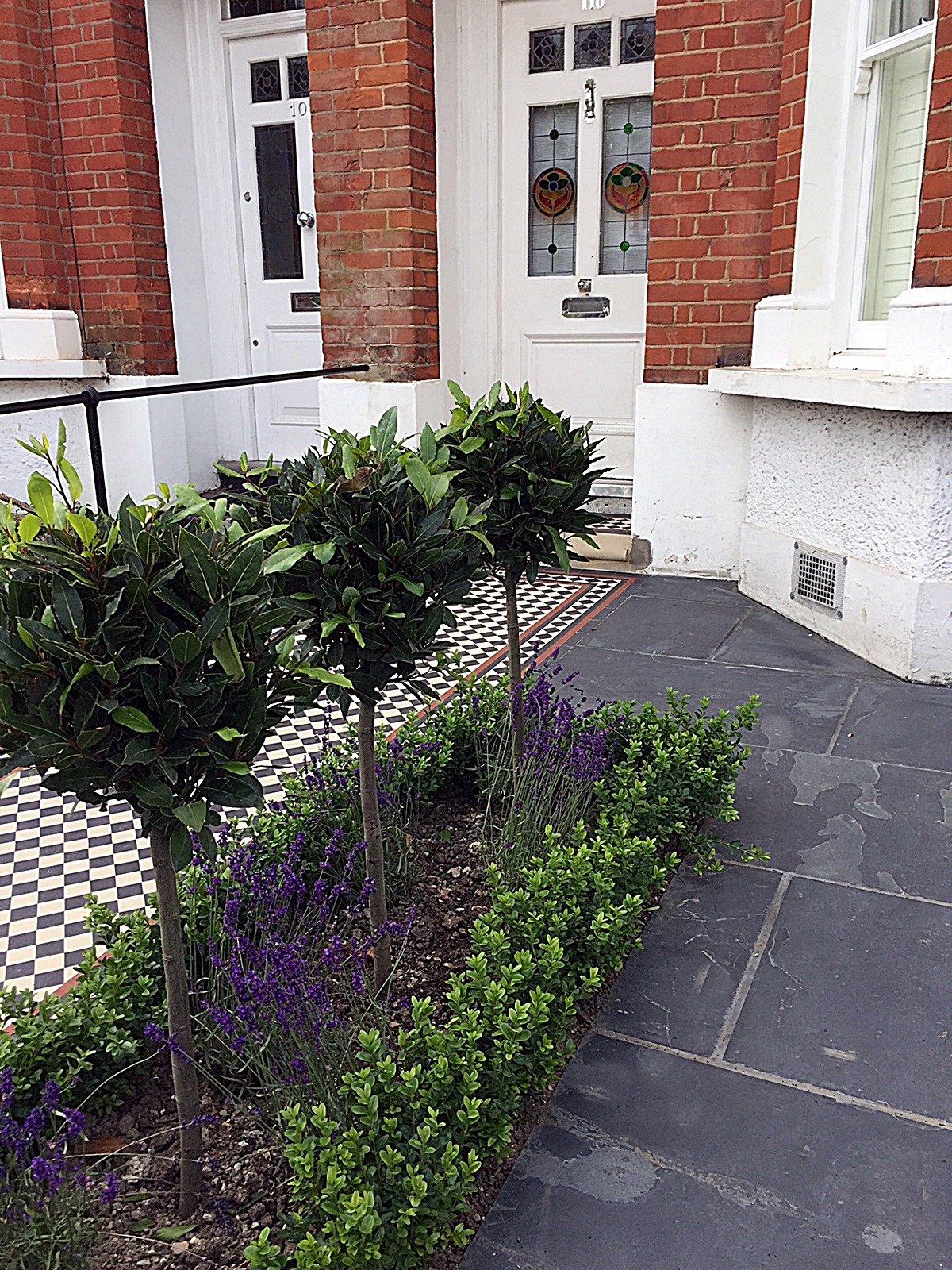 Path slate paving planting wrought gate rails front garden mosaic Victorian London Balham Battersea Wandsworth Earsfield