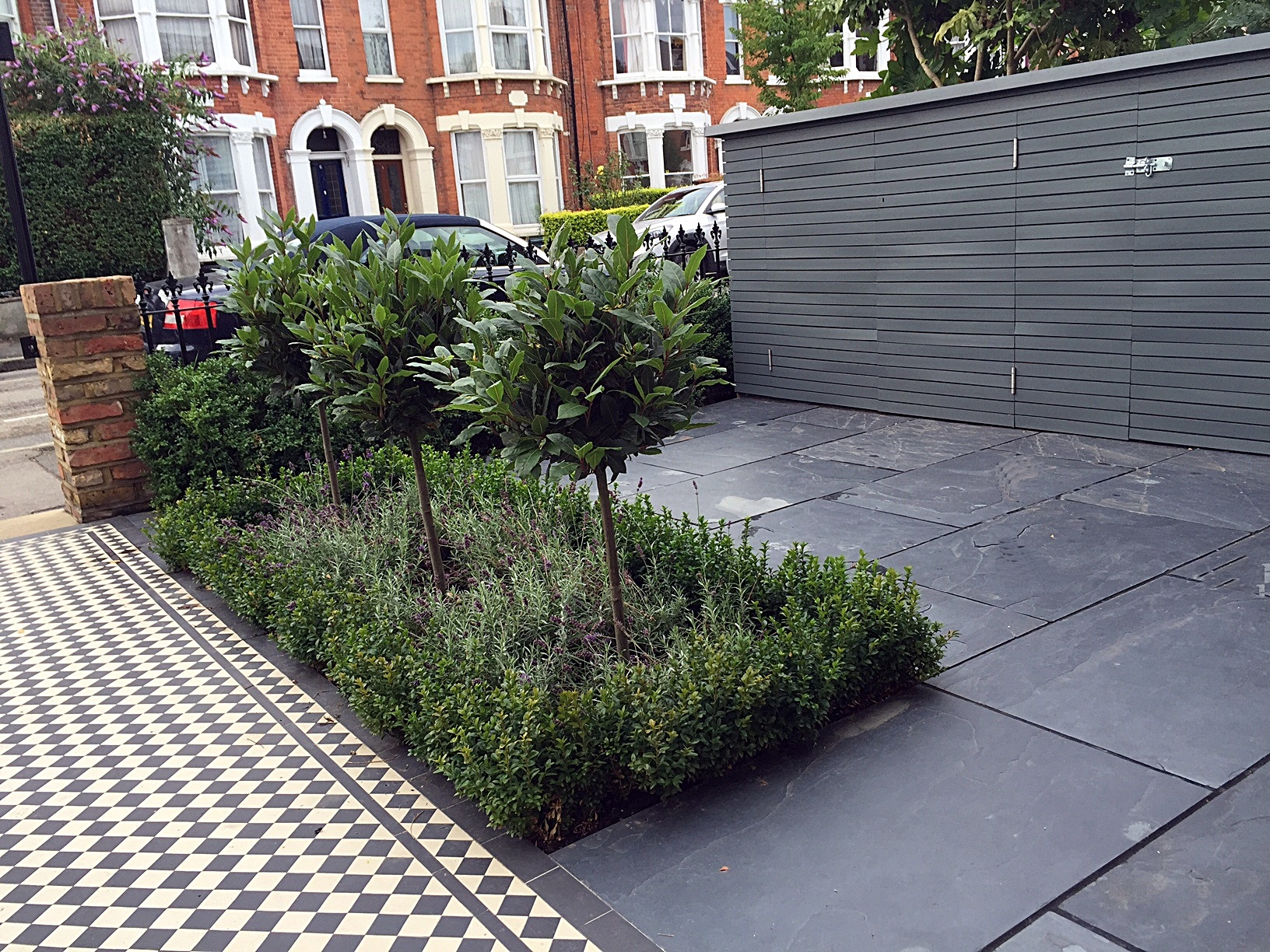 Slate paving bespoke storage grey colour scheme Victorian Mosaic London Clapham Balham Wandsworth