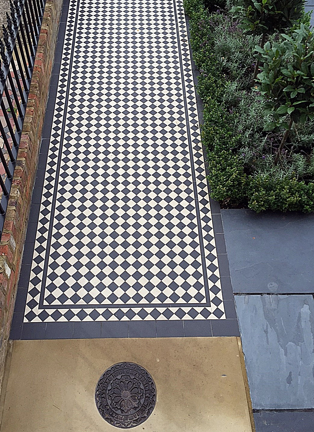 Victorian classic front garden mosaic London