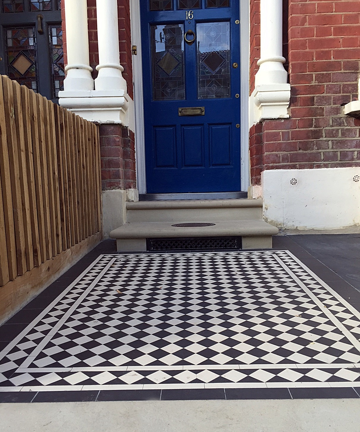 Classic Victorian Mosaic  black and white colour London Chelsea Fulham Wandsworth Clapham