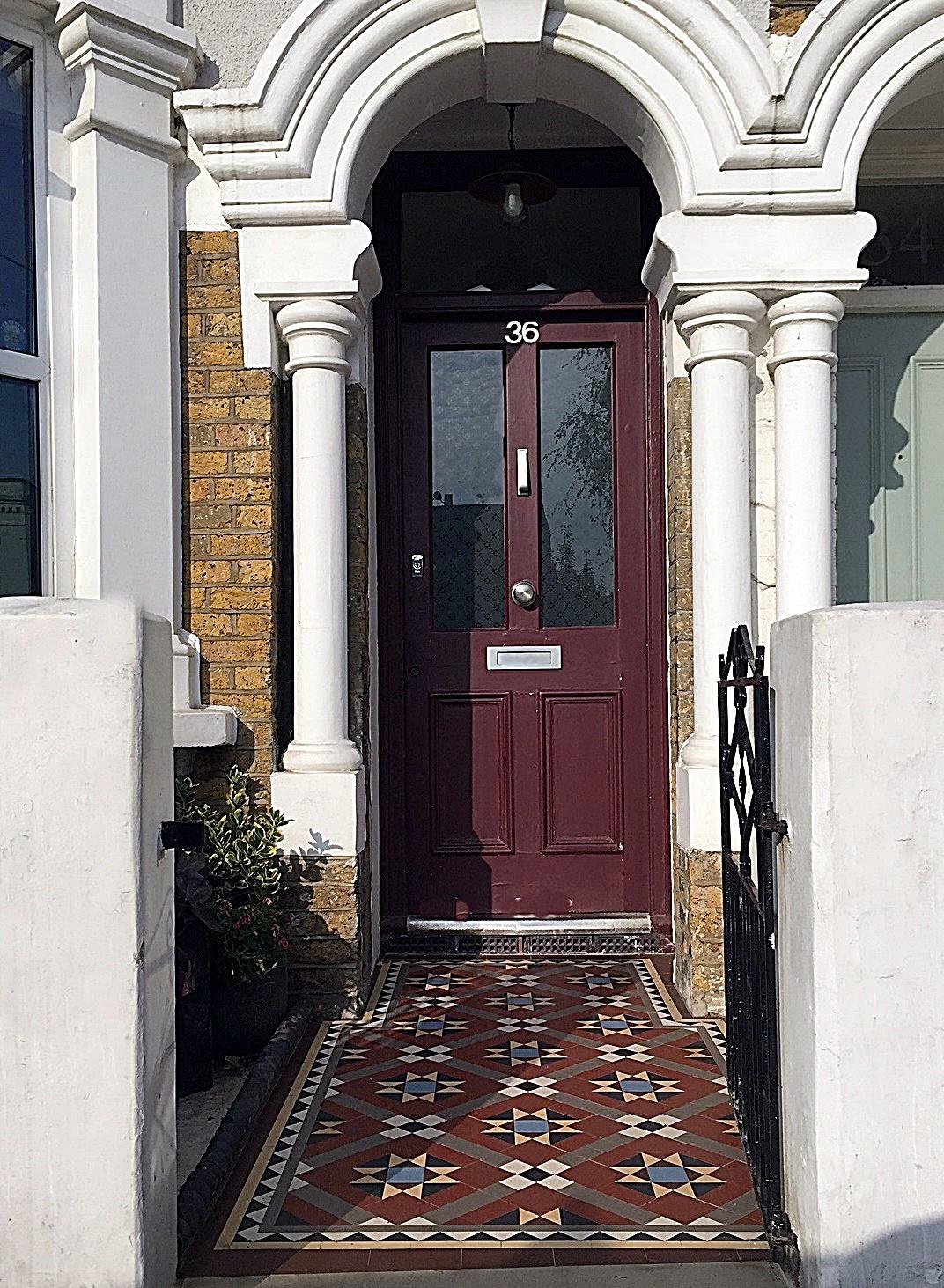 Front metal gate tile mosaic low maintenance York stone entrance London Streatham Clapham Balham