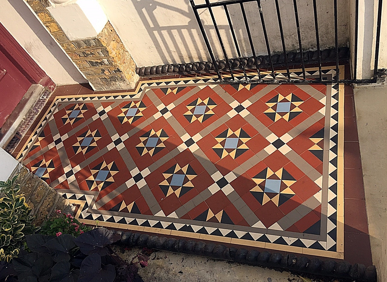 Multi colour front garden mosaic tile path York stone London Fulham Chelsea Kensington Mayfair