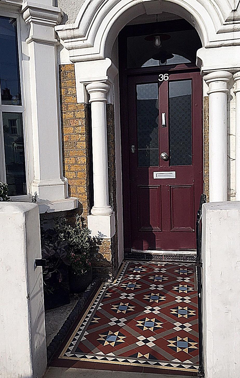 Path tile red white black colour mosaic Edwardian London Streatham Balham Clapham