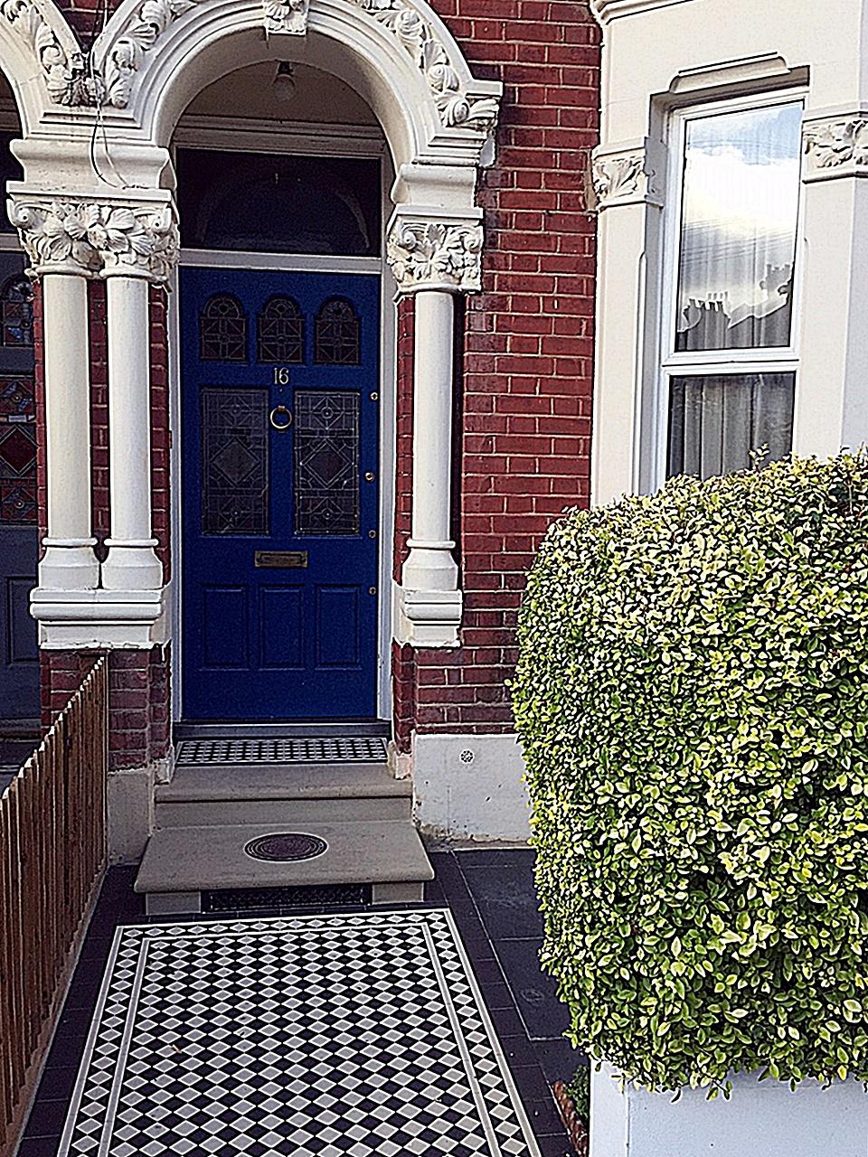 Victorian Mosaic path paving tile black and white London Clapham Balham Wandsworth