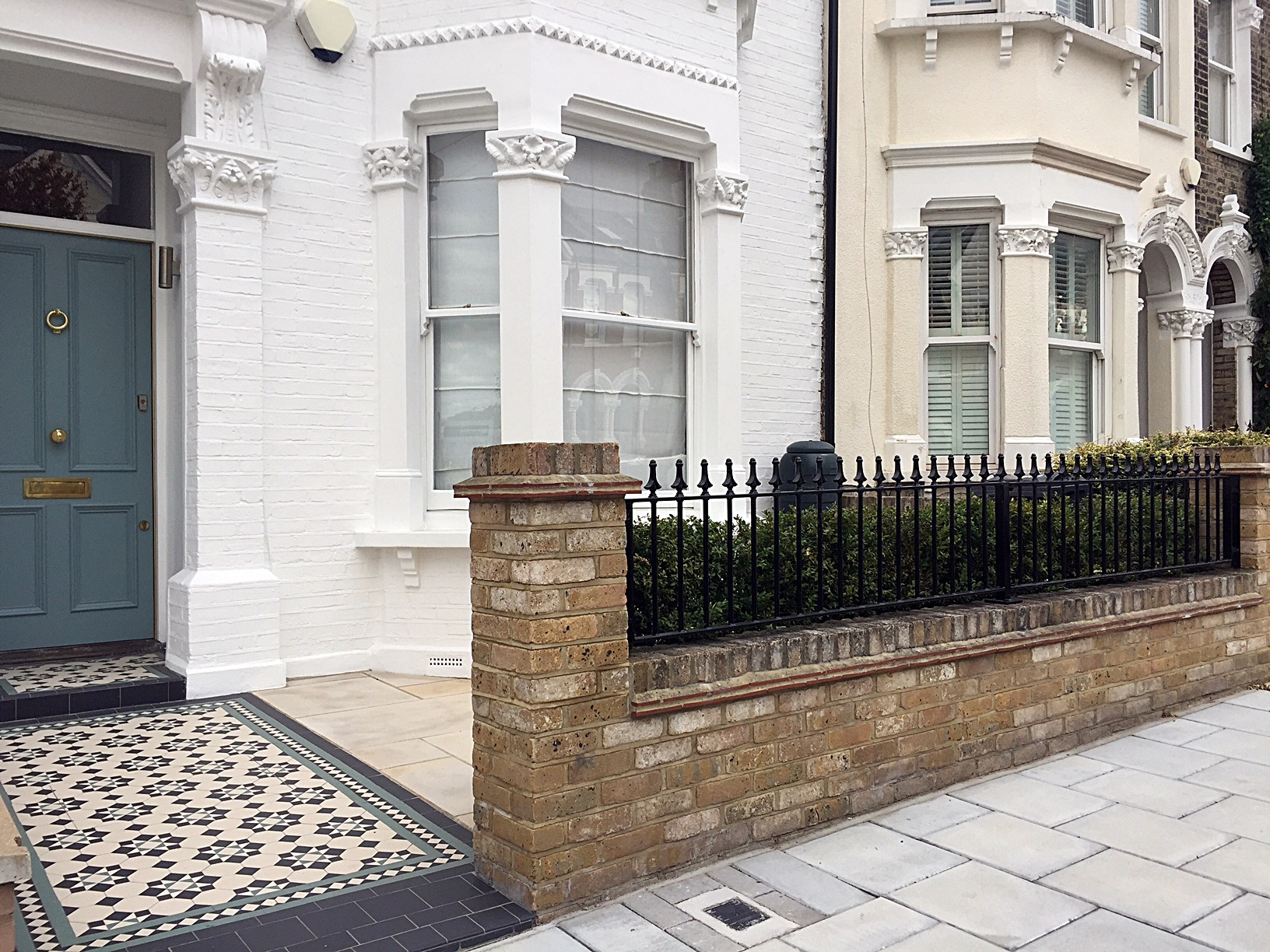 brick-garden-wall-edwardian-mosaic-planting-paving-london-balham-clapham-wandsworth