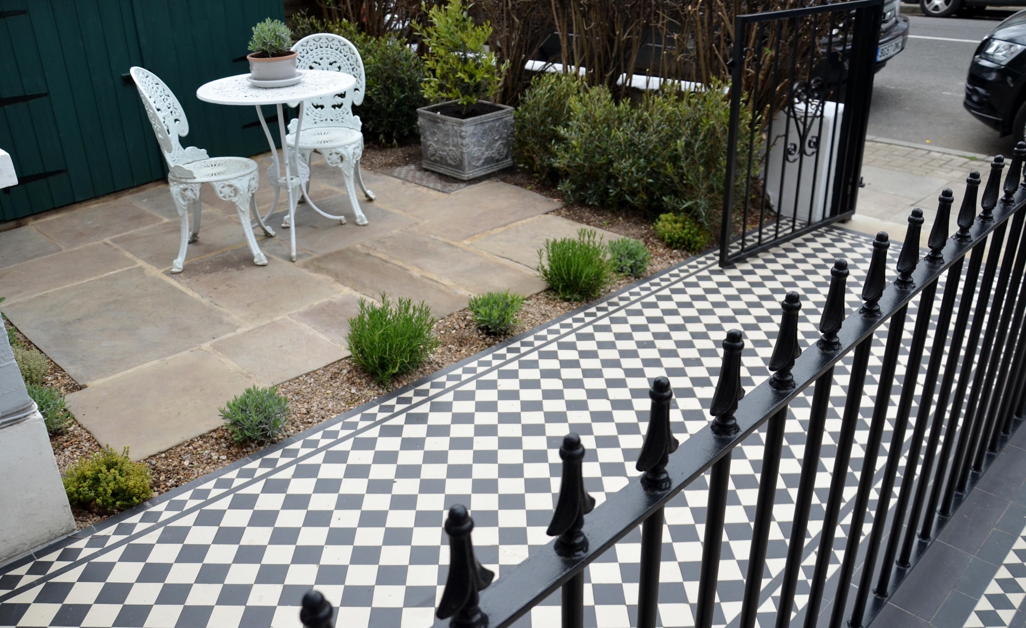 Victorian Black And White Mosaic Tile Path Metal Rail
