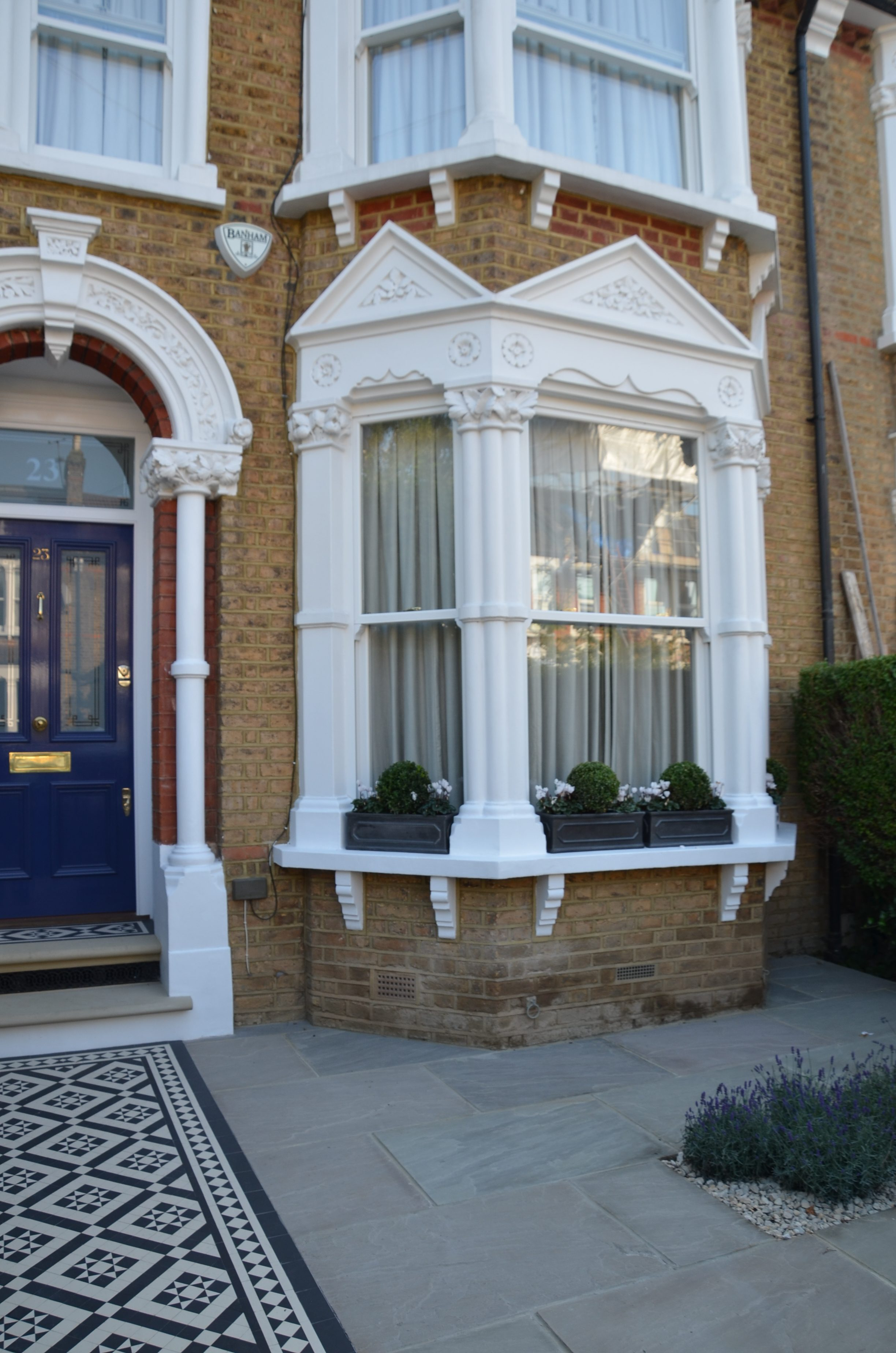 Front Garden Victorian Black And White Mosaic London