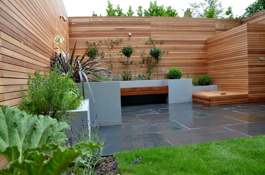 grey modern garden design slate paving screen raised beds ...