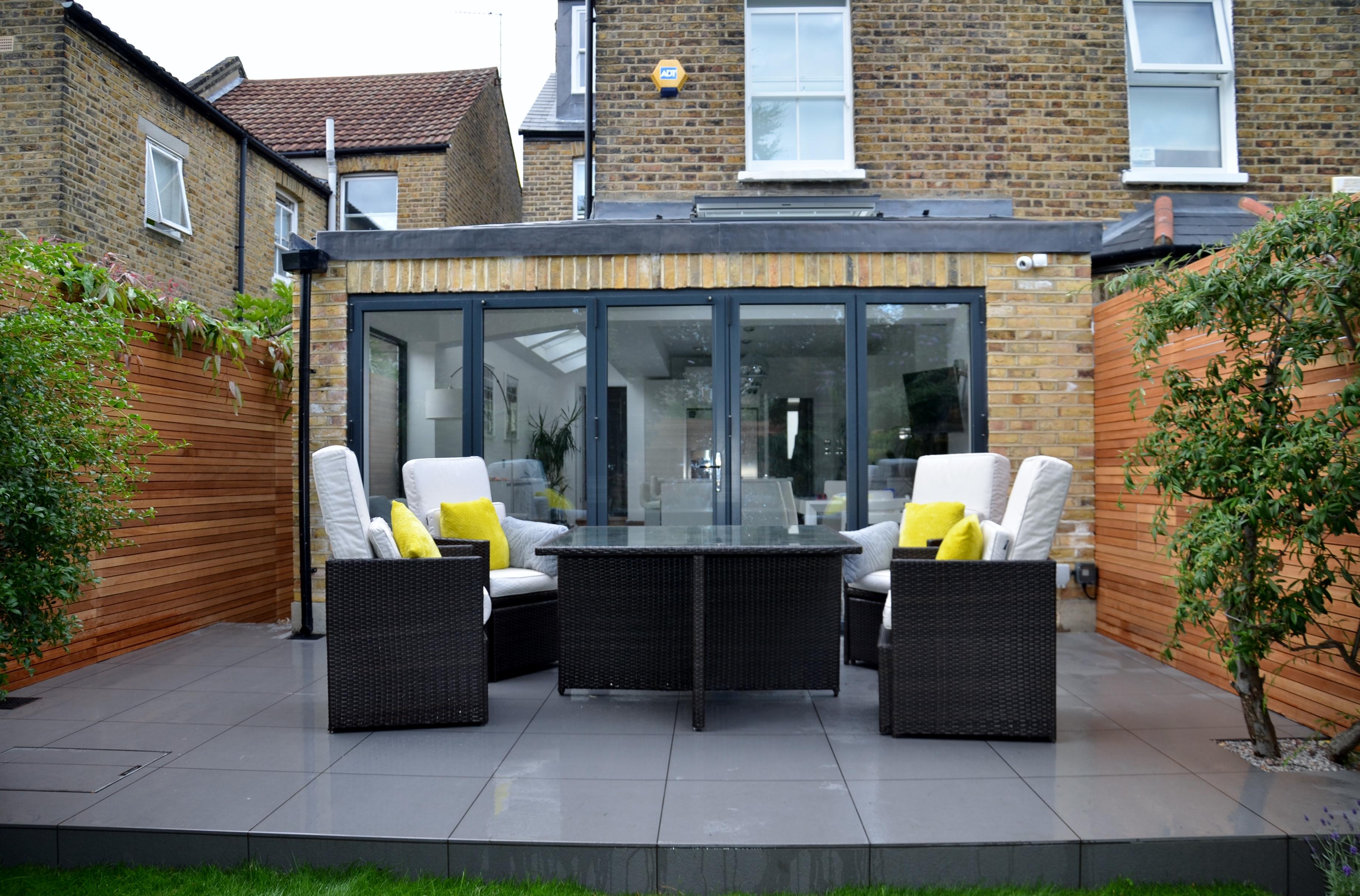 grey modern garden design slate paving screen raised beds bespoke