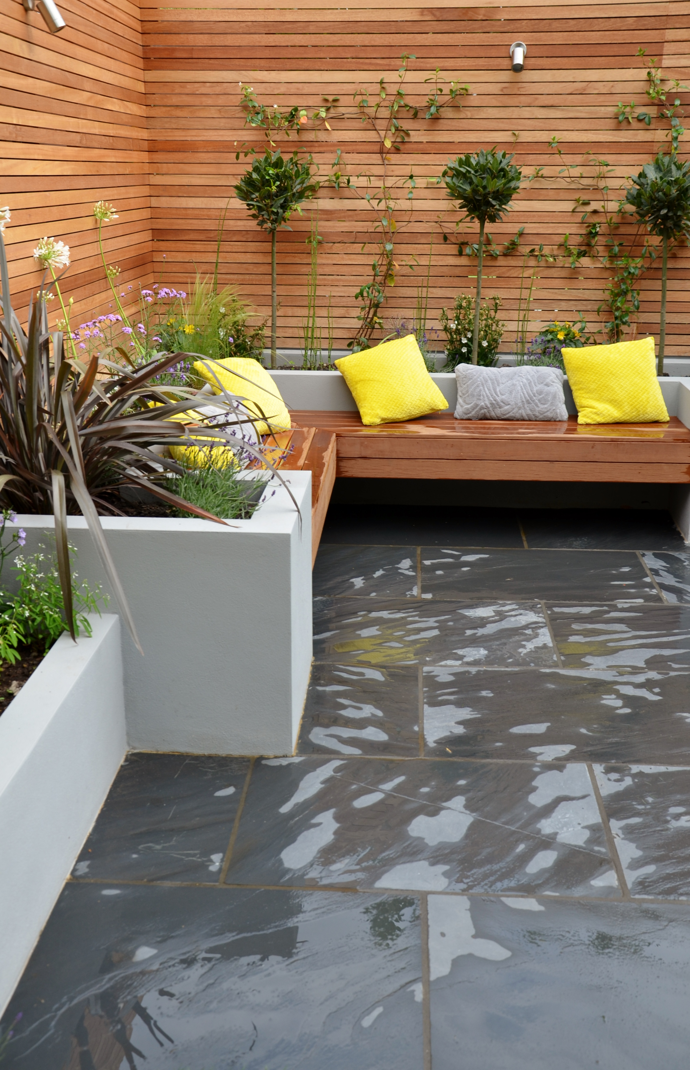 grey modern garden design slate paving screen raised beds bespoke
