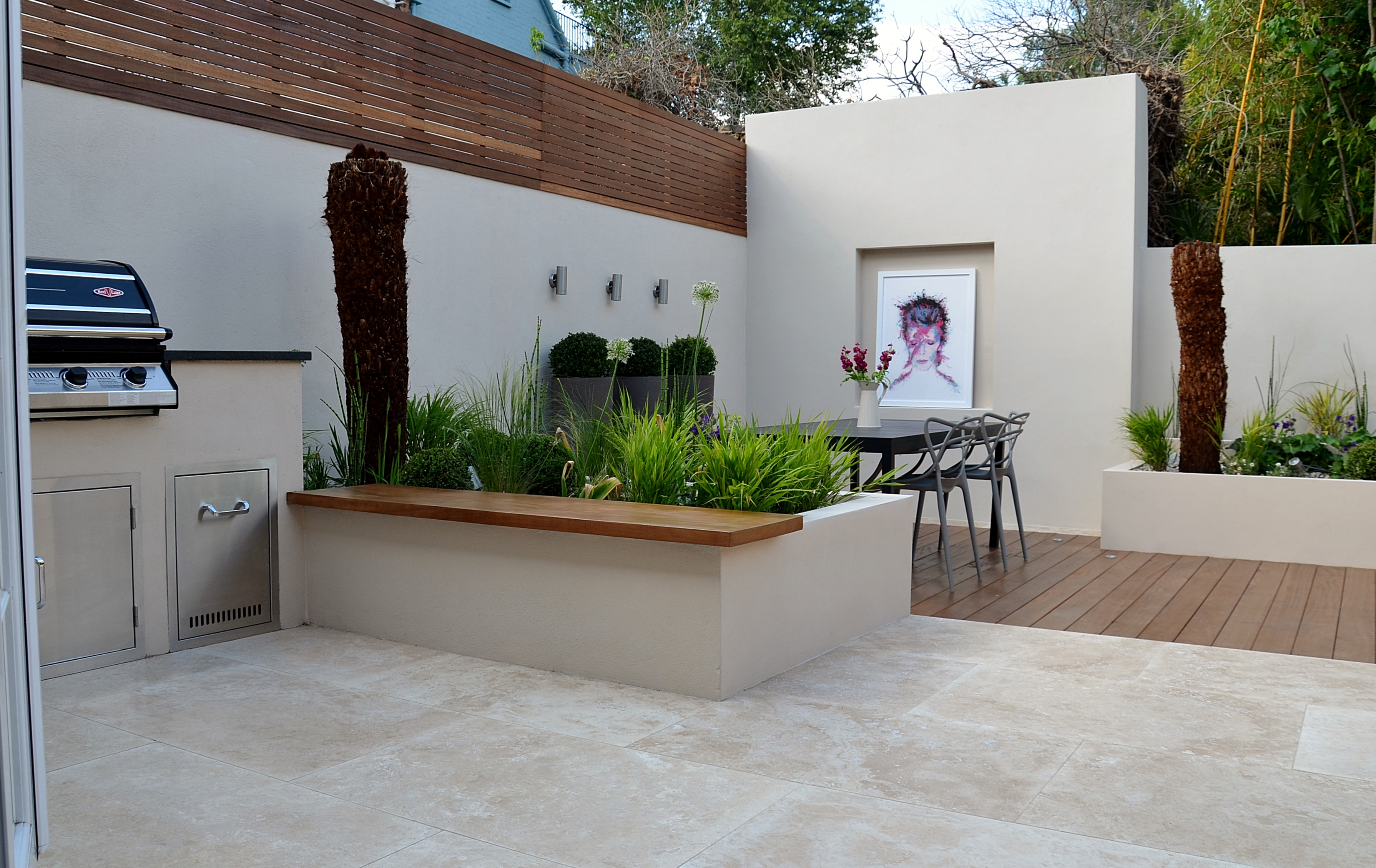 Modern Garden Design Outdoor Kitchen Room Hardwood Screen Deck Cream Paving London Designer