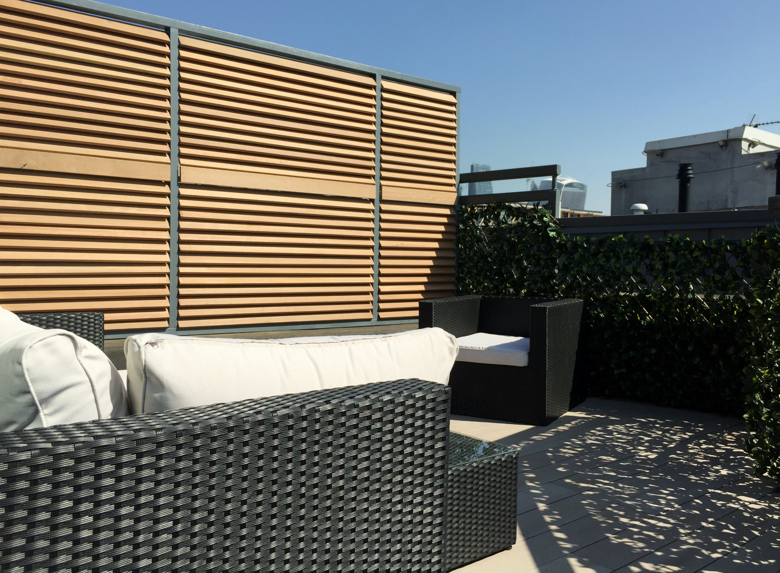 Slatted Wood Wall Privacy Screens