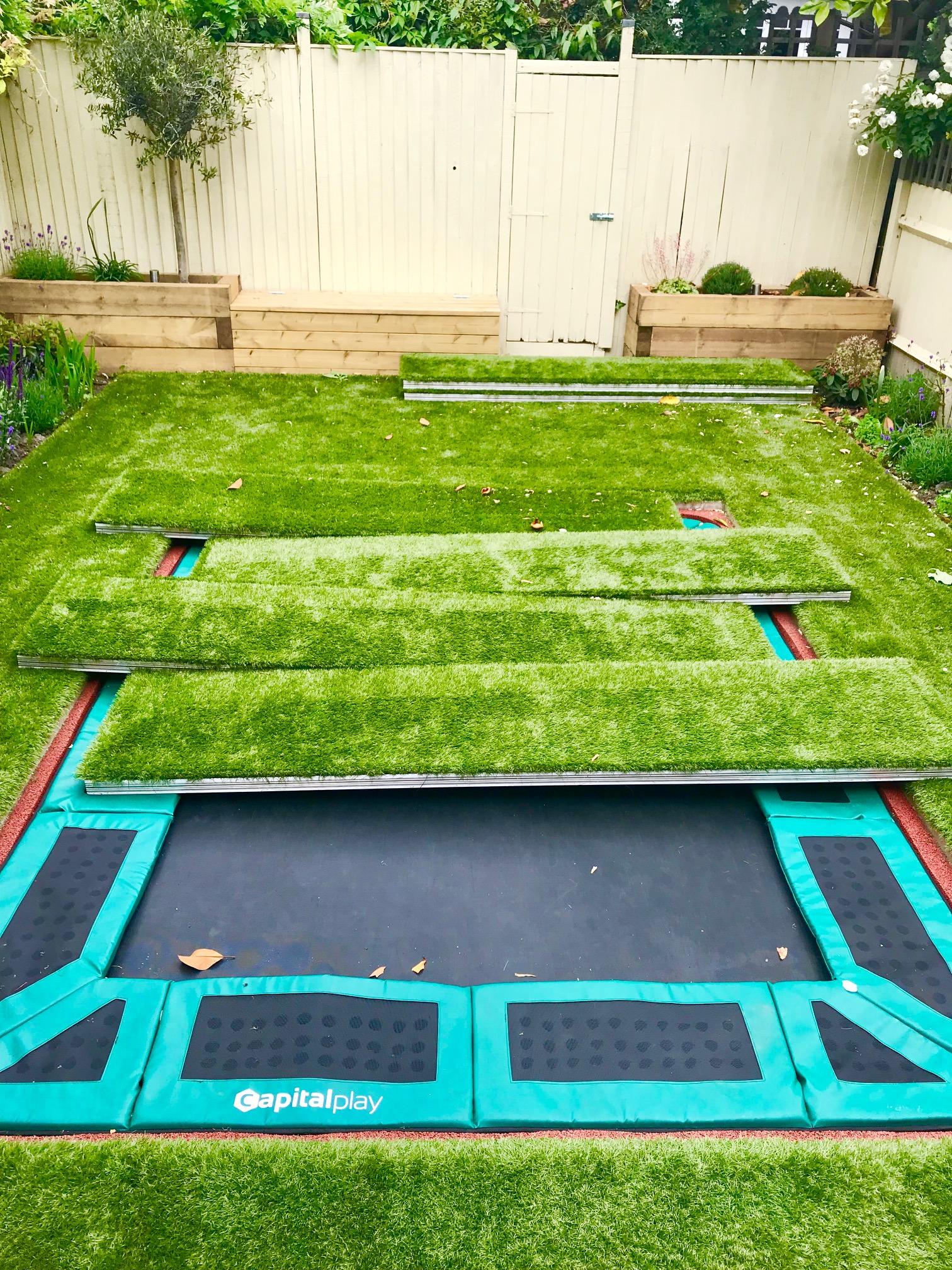 Garden Walk London: Sunken Trampoline With Walk On Aluminum Lid Cover Artificial Grass And Covers Garden London